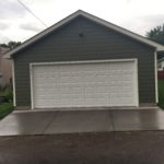A newly constructed two-car garage.