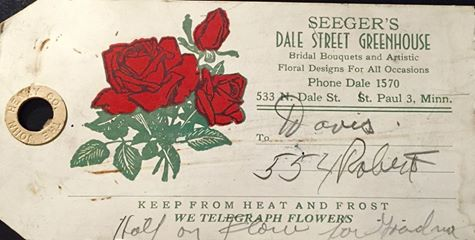 A tag from a floral delivery