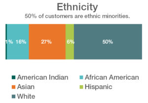 chart displaying ethnicity of customers