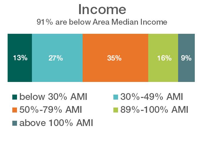 chart displaying income of customers