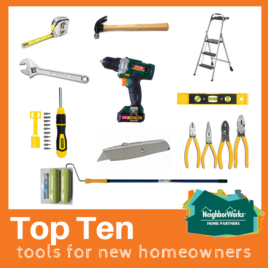 A collage of tools recommended for new homeowners.