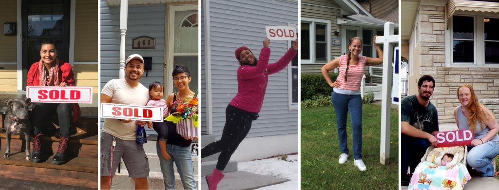"New homeowners pose in front of their homes holding ""sold"" signs."