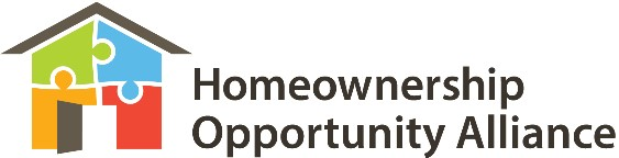 Homeownership Opportunity Alliance logo - an imae of a house constructed of multi-colored puzzle pieces.