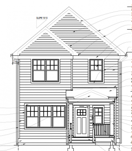 Drawing of the front elevation of a new two-story home being built in Frogtown.