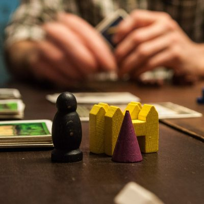 A close-up of pieces from a board game.