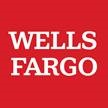 "A red square with white serif text that reads ""Wells Fargo."""